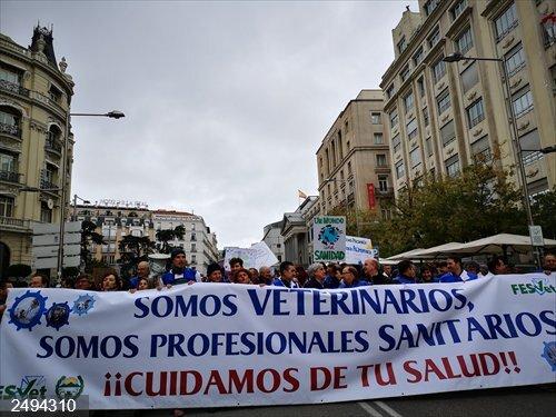 Veterinarios se manifiestan ante el Ministerio de Sanidad para pedir que se les considere profesionales sanitarios