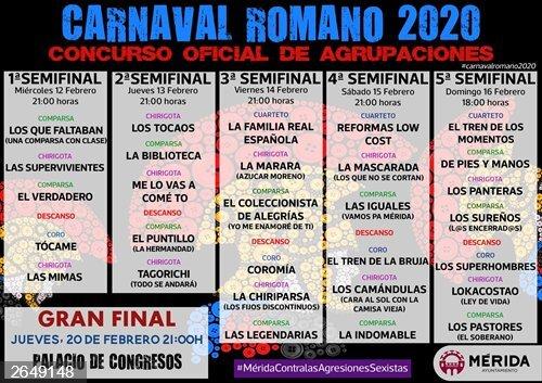 El sorteo de la gran final del concurso de agrupaciones del Carnaval Romano de Mérida será el lunes