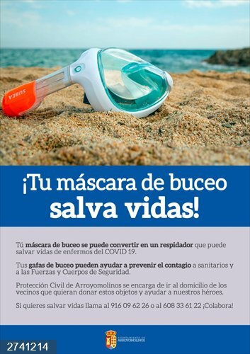 Coronavirus.-  Arroyomolinos pone en marcha una campaña de recogida de mascarillas y gafas de buceo