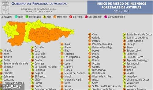 Cuarenta municipios, con índice de riesgo 'muy alto' por incendios forestales este domingo