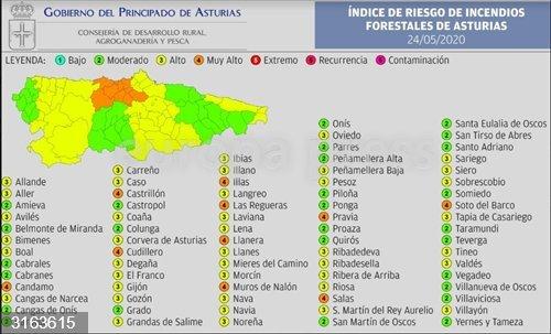 El riesgo de incendios será 'muy alto' este domingo en diez municipios asturianos