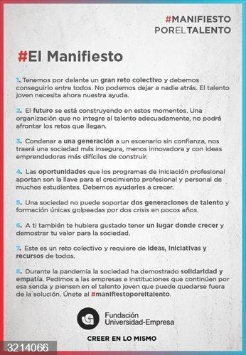 Fundación Universidad-Empresa lanza un #ManifiestoPorElTalento para pedir a empresas e instituciones apoyo a los jóvenes