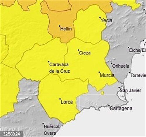 La Aemet establece para el domingo fenómenos adversos de nivel amarillo por temperaturas de hasta 39 grados en la Región