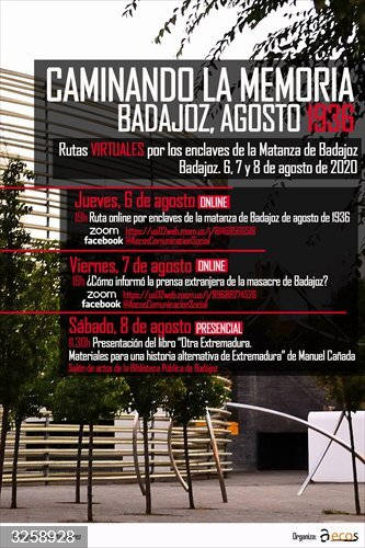 Rutas virtuales permitirán conocer los enclaves más significativos de la matanza de Badajoz de agosto de 1936