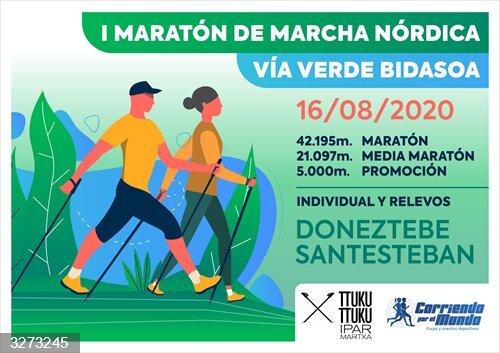 La Vía Verde del Bidasoa acoge este fin de semana dos maratones de marcha nórdica