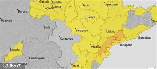 Aviso amarillo por lluvias y nevadas en el Pirineo y por vientos en buena parte de Aragón