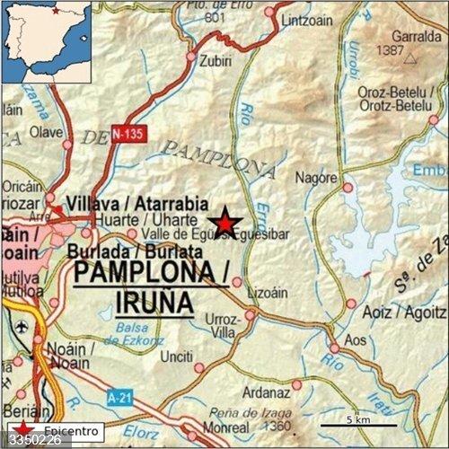 Un terremoto de magnitud 4,3 en Lizoáin (Navarra) se deja sentir en más de una treintena de localidades