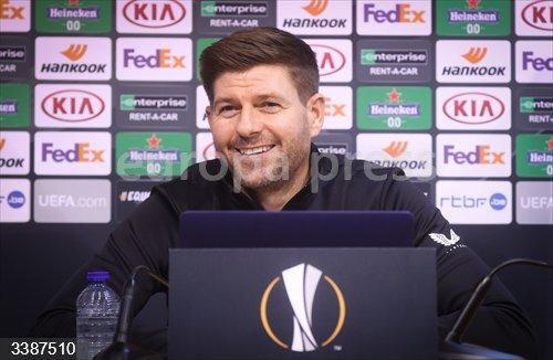 21 October 2020, Belgium, Liege: Rangers' head coach Steven Gerrard attends a press conference ahead of Thursday's UEFA Europa League Group D against Standard Liege. Photo: Virginie Lefour/BELGA/dpa