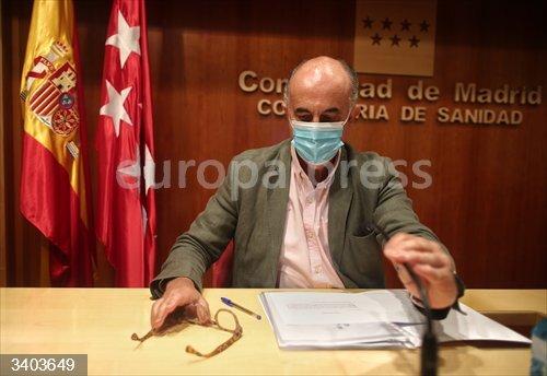 El viceconsejero de Salud Pública y Plan COVID-19 de la Comunidad de Madrid, Antonio Zapatero, durante su comparecencia en la Consejería de Sanidad, en Madrid (España), a 30 de octubre de 2020. Durante la rueda de prensa ha actualizado la información sobre la incidencia de la pandemia en la región y presentan recomendaciones generales sobre ventilación para evitar la transmisión del coronavirus.  <br>Fecha: 30/10/2020.