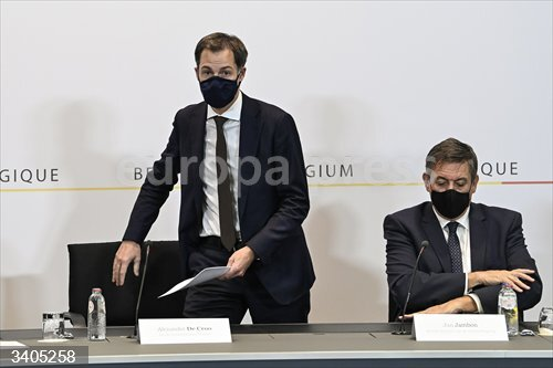 30 October 2020, Belgium, Brussels: Alexander De Croo, Belgium's Prime Minister, and Flemish Prime Minister Jan Jambon attend a press conference following a cabinet meeting on the new Coranavirus restrictions. Photo: Pool Philip Reynaers/BELGA/dpa