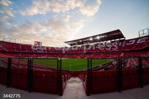 General view of stadium during LaLiga, football match played between Sevilla Futbol Club and Real Club Celta de Vigo at Ramon Sanchez Pizjuan Stadium on November 21, 2020 in Sevilla, Spain.