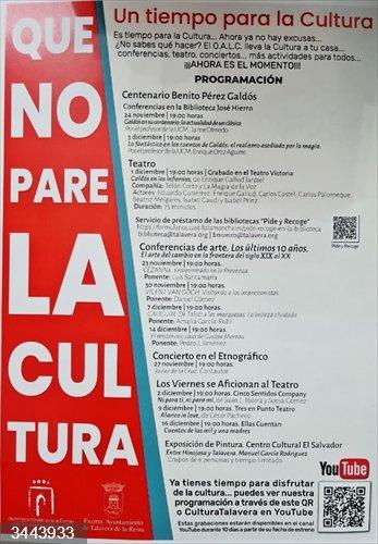 Cartel 'Que la Cultura no pare' en Talavera<br>REMITIDA / HANDOUT por AYUNTAMIENTO DE TALAVERA<br>Fecha: 22/11/2020.                 <br>Fotografía remitida a medios de comunicación exclusivamente para ilustrar la noticia a la que hace referencia la imagen, y citando la procedencia de la imagen en la firma